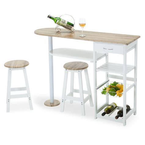 island tables for kitchen with chairs oak white kitchen island cart trolley dining table storage
