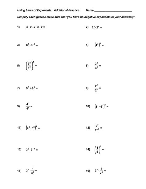 laws of exponents worksheet dividing exponents worksheets free power of 10 exponent
