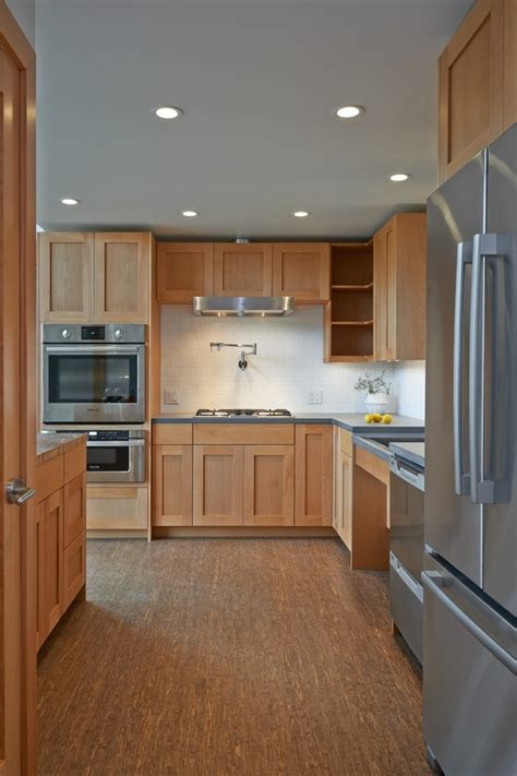 cherry shaker cabinets kitchen traditional  subway