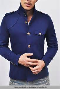 Navy Blue Military Style Jacket Men's