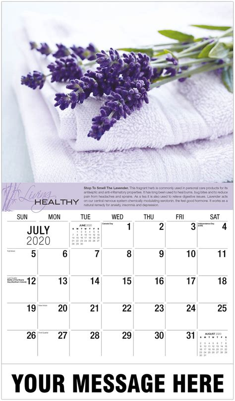 promotional advertising calendar living healthy