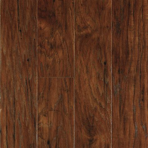 lowes flooring wood laminate shop allen roth 4 85 in w x 3 93 ft l toasted chestnut handscraped wood plank laminate