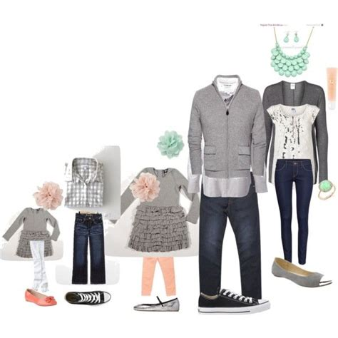 Spring Family Picture picture outfit ideas. mint peach grey....not as much grey - Picmia