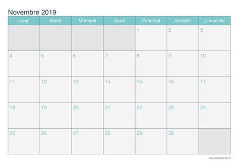 mensuel novembre  calendrier imprimer