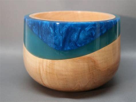 handmade wooden bowl   maple  teal resin