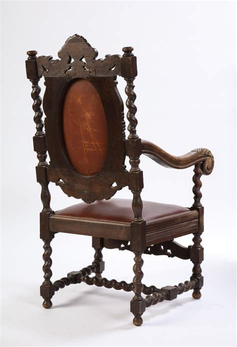 Amory high back arm chair a comfortable and soft armchair that features a long backrest for even more convenience. Jacobean Style Oak High-Back Armchair with Leather ...