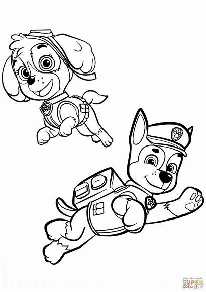 Coloring Skye Pages Paw Patrol Chase Sky