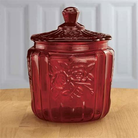 Ruby red depression style glass biscuit jar cookie