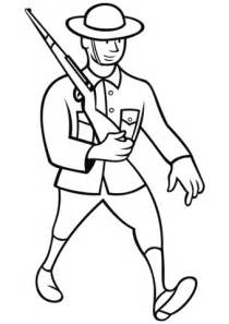 ww british soldier marching  rifle coloring page
