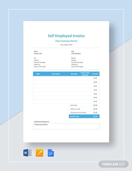 employed invoice examples samples