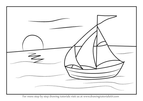 How To Draw A Water Boat by Learn How To Draw A Sailboat On Water Boats And Ships