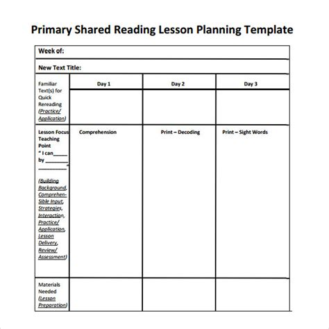 guided reading template 9 sle guided reading lesson plans sle templates