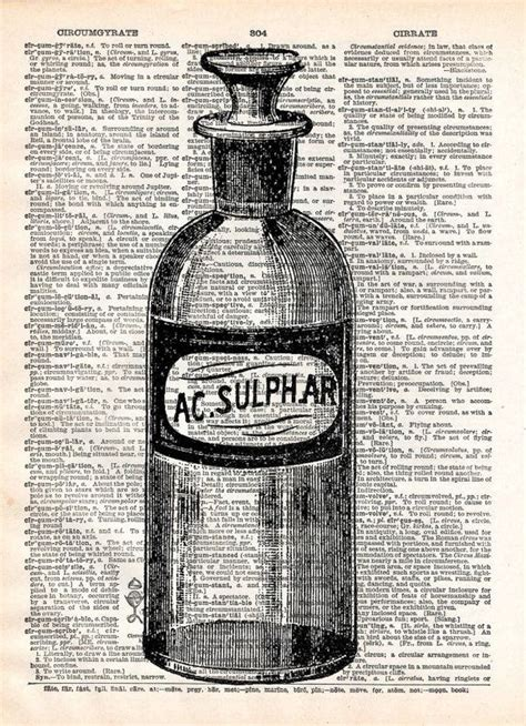 old book art print apothecary bottle vintage bathroom