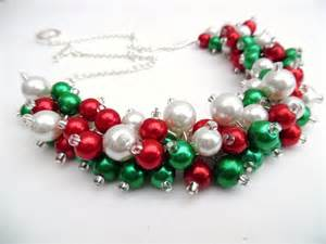 christmas necklace pearl beaded necklace holiday jewelry