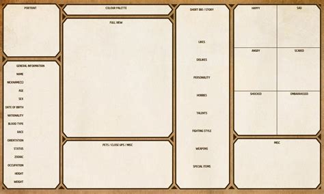 Character Sheet Template Character Sheet Template By Yenke Resource Tool How To