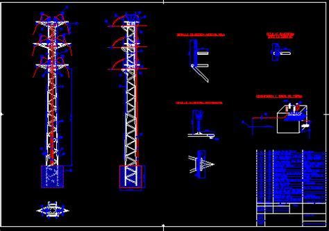 tower  high tension dwg detail  autocad designs cad
