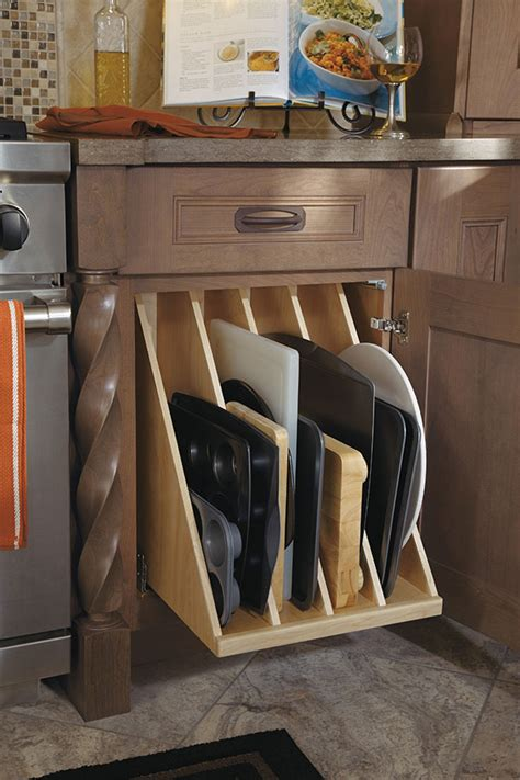kitchen cabinet cookie sheet organizer tray divider pull out omega cabinetry 7756
