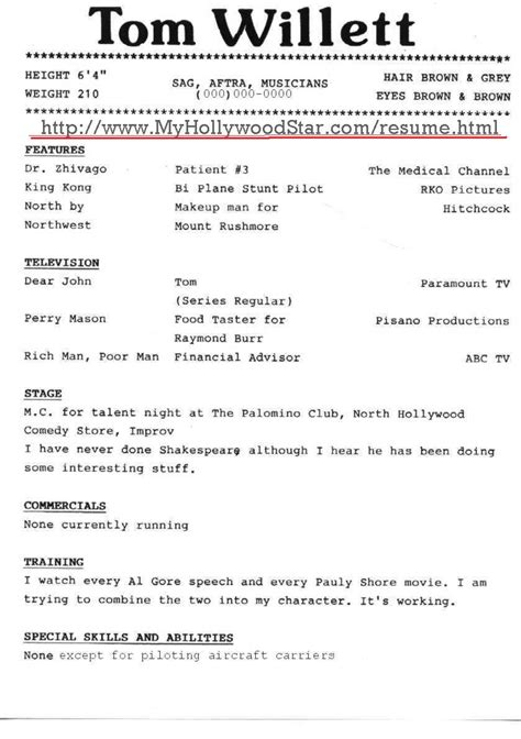 Free Actor Resume by Sle Resume Format December 2014