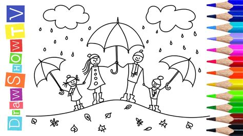 How to Draw Happy Family with Umbrellas Art Colours for