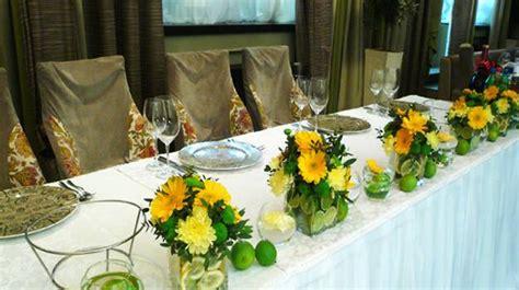 colorful floral arrangements  lemons creating