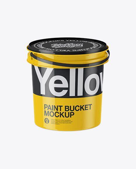 Plastic bucket with sauce mockup. Download Glossy Plastic Paint Bucket Mockup - Half Side ...