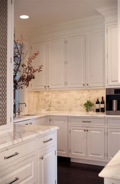 calcutta gold subway tile traditional kitchen the