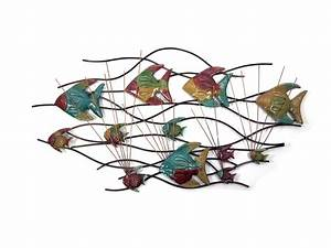 Metal fish wall art minuteman metal works metal fish for Kitchen cabinets lowes with shoal of fish metal wall art
