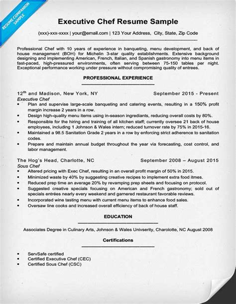 Chef Resume by Sous Chef Resume Exle Thesisjustification Web Fc2