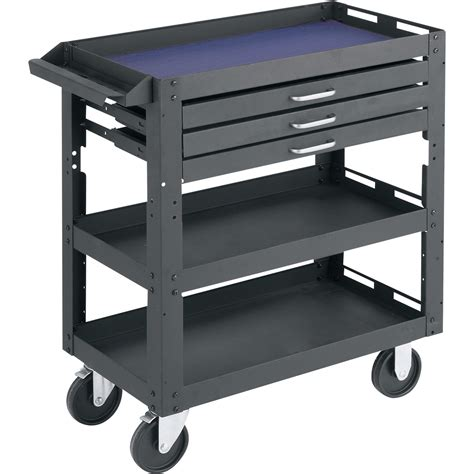 Kitchen Utility Cart With Drawers by Northern Industrial Tools 3 Shelf 3 Drawer Work Cart