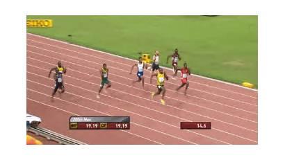 Bolt Usain Finish Line Jogging Meters Race