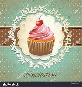 Vintage Card With Cupcake Illustration vectorielle libre ...