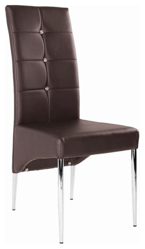 modern leather dining chair with chrome legs brown