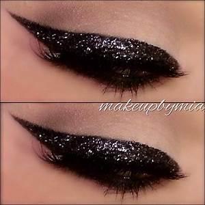 dramatic black/silver glitter winged eyeliner #makeupbymia ...