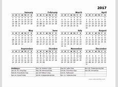 2017 Year Calendar Template US Holidays Free Printable