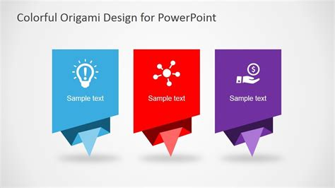 colorful origami design layout  powerpoint diagrams