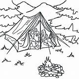 Tent Coloring Forest Pages Camping sketch template