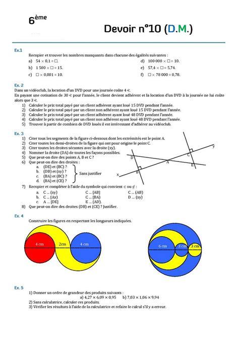 devoir maison de math 6eme contr 244 les de math 233 matiques en sixi 232 me 6 232 me devoirs surveill 233 s de maths sixi 232 me