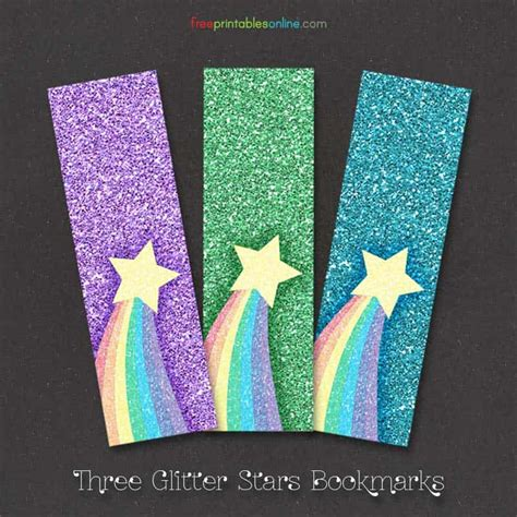 rainbow glitter bookmarks  printables
