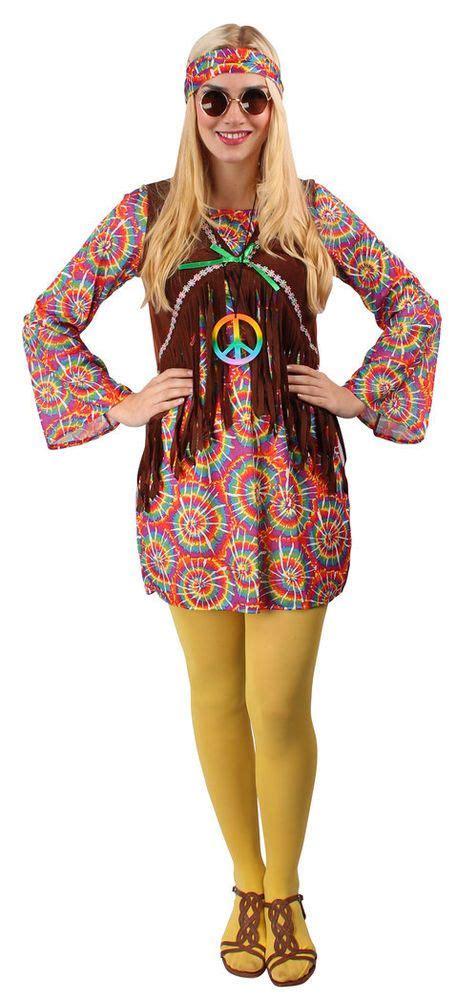 hippie selber machen hippie kost 252 m damen bunt 60er 70er flower power kleid karneval fasching kleidung