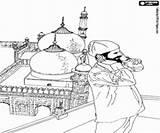Coloring Muezzin Islam Prayer Call Ramadan Calling Islamic Printable Mosque Minarets Oncoloring sketch template