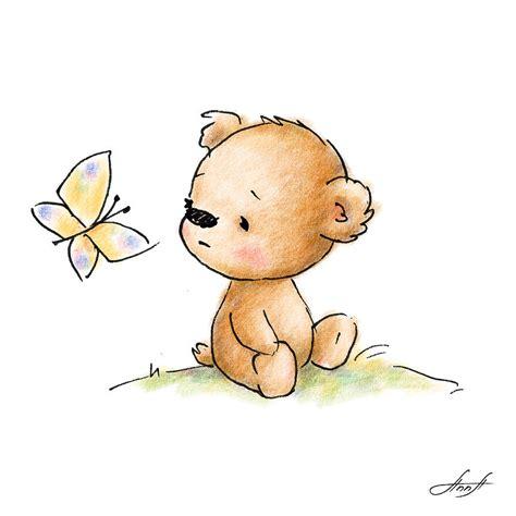 drawing of cute teddy bear with butterfly digital art by anna abramska