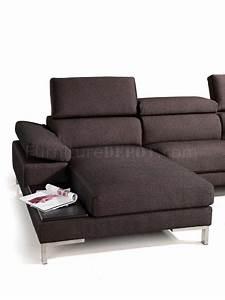brown fabric modern sectional sofa w metal legs side table With sectional sofa side tables