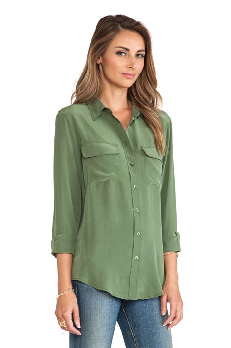 equipment slim signature blouse equipment slim signature blouse in green green