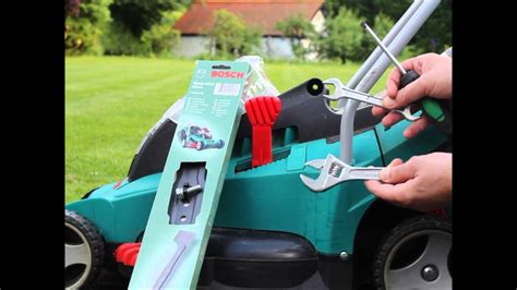how to replace change blade of bosch rotak cordless electric lawn mower 43 40 37 34 32