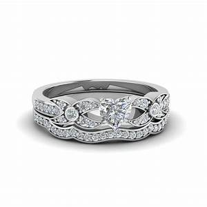 heart shaped pave diamond accented delicate wedding ring With heart diamond wedding ring set