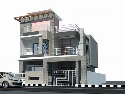 Elevation Modern Indian 3d Plans Building Clipart