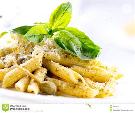 cuisine pasta penne pasta with pesto sauce stock image image 29854701