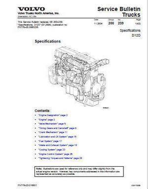 volvo d12 specs bolt torques and manuals
