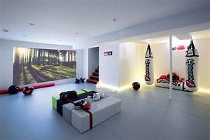 Home gym ideas basement basement modern with recessed