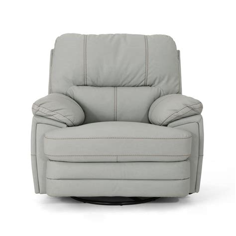 Light Leather Recliner by Noble House Elodie Light Gray Leather Swivel Power